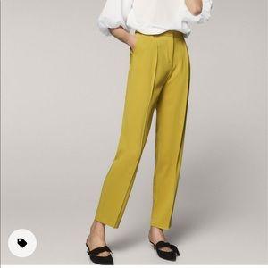NWT Massimo Dutti lime yellow pleat pants size 10